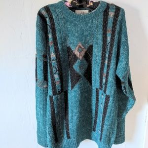 80s Turquoise Southwestern Print Grandpa Sweater L